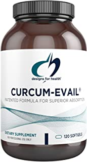 Designs for Health Curcum-Evail - Bioavailable Turmeric Curcumin & Proprietary Curcuminoid Blend with Turmeric Oil, Maximum Absorption - Supports Healthy Inflammatory Response (120 Softgels)