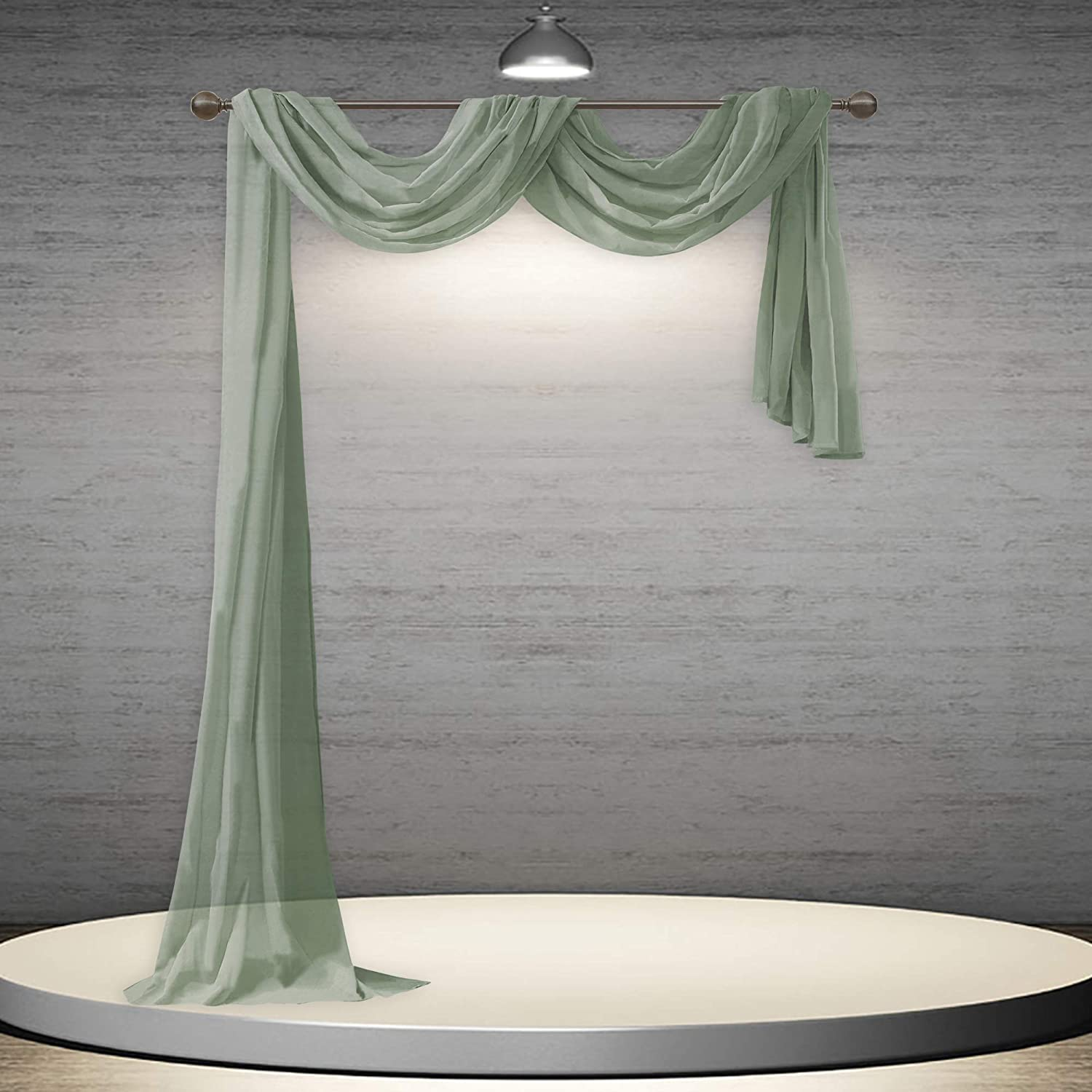 DONREN Sage Green Sheer Window Scarf Semi - Soft Valance Free Shipping Cheap Bargain Gift Sale Special Price Luxury