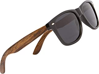 Woodies Walnut Wood Sunglasses Dark Polarized Lenses with 100% UVA/UVB Ray Protection
