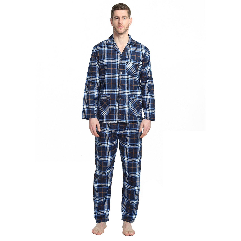Mens Pajamas Lightweight Flannel Button