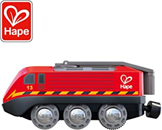 Hape Hand Crank Powered Train | Button Operated, Rechargeable Kinetic Powered Engine and Lights, Kids Toy for Train Set, Red Finish, Sustainable Play for Kids