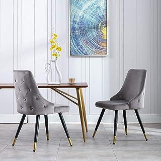 Wahson Esszimmerstühle aus Samt 2er Set Küchenstuhl mit Metallbeinen,Polsterstuhl für Esszimmer/Wohnzimmer
