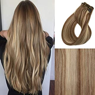 120g Clip in Hair Extensions Bayalage Highlights 22inch Real Human Hair Extensions for Women Silk Straight #6 Light Brown Fading to #613 Blonde Double Weft Full Head 7PCS(40cm 45cm 50cm 55cm)#6/613