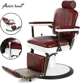 Artist Hand Vintage Barber Chair Heavy Duty Barber Chairs Hydraulic Reclining Salon Chair Styling Chair for Salon Equipment Tattoo Chair(Burgundy)