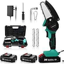 24V Cordless Mini Chainsaw 2Pcs Batteries, AMERIGUY 4 Inch Electric Power Chain Saw, One-Hand Operated Portable Wood Saw f...