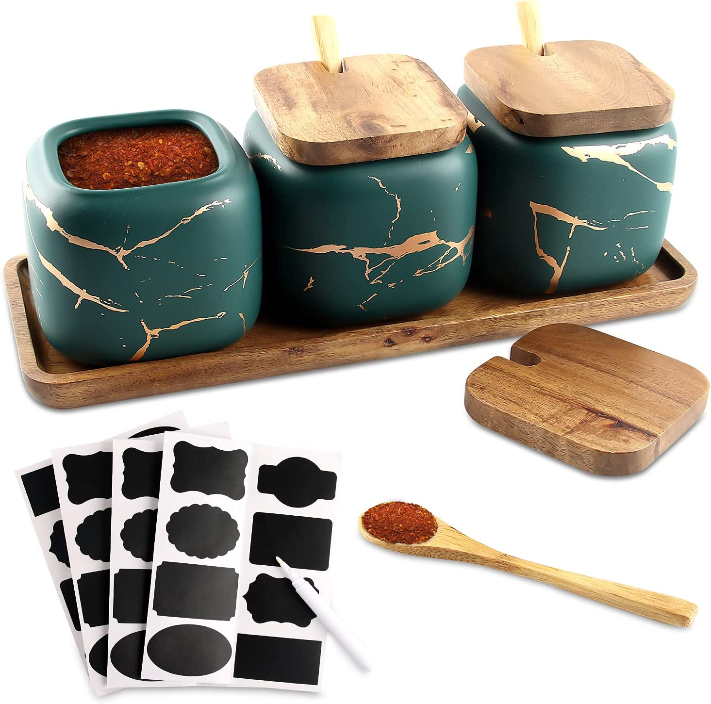 Cerámica Spice Jar Envase, Juego de 3 Especieros de Cerámica,Condimento Tarro de Especias ollas de cerámica con Tapa Cuchara Bandeja de Madera para Cocina Doméstica Azucarero y Salero (verde)