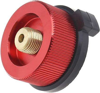 Adaptador de gas convertidor, color rojo, para estufa, quemador de estufa, adaptador de conversión para pesca, camping, picnic, cocina al aire libre
