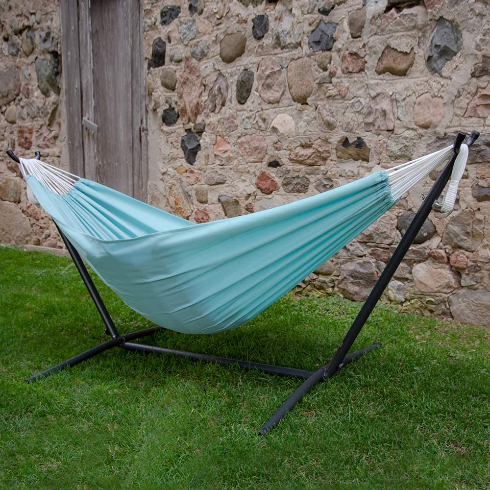 Vivere Double Cotton Hammock with Space Saving Steel Stand, Tropical (450 lb Capacity - Premium Carry Bag Included) : Garden & Outdoor