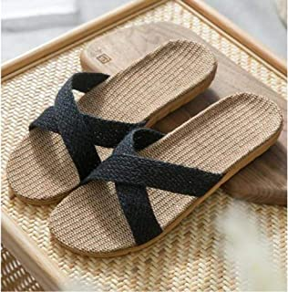 New Men'S Summer Linen Slippers Home Hotel Indoor Slippers Men'S Black Linen Slippers Men'S Slippers Flat Sandals Home Shoes