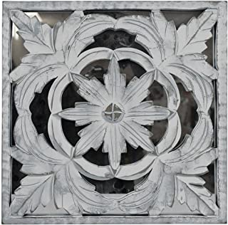 Indian Heritage - Wooden Wall Panel MDF Mirror with Carved Panel Design in White Distress