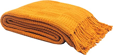 TreeWool,  100% Soft Premium Cotton Throw with Fringes Light Weight and Warm (60 x 80 Inches,  Broad Checkered Weave,  Mustard Yellow)