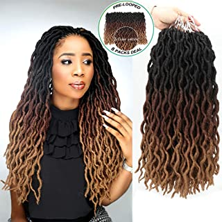 "Eliza Wavy Gypsy Locs Ombre Crochet Hair 18"" 8Packs/Lot Goddess Locs 100% Kanekalon.."