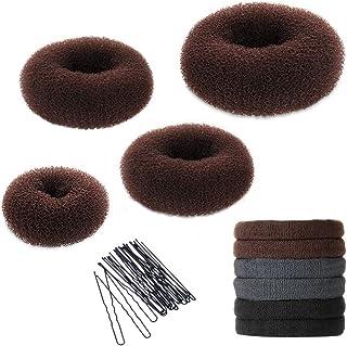 (Brown) - 3 Piece Donut Hair Bun Maker for Chignon Hair (Small, Medium, Large) + 6 Count Hair Elastics + 1 Bag Hairpins, B...