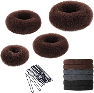 Hair Bun Maker Set, YaFex Donut Bun Maker 4 Pieces(1 Large, 2 Medium and 1 Small), 5 Pieces Elastic Hair Ties, 20 Pieces Hair Bobby Pins, Brown