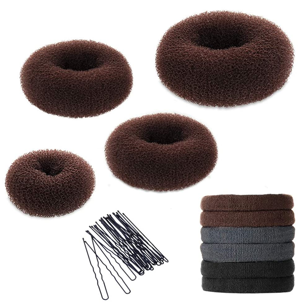 Hair Bun Maker Set, YaFex Donut Bun Maker 4 pieces(1 large, 2 medium and 1 small), 5 pieces Elastic Hair Ties, 20 pieces Hair Bobby Pins, Brown