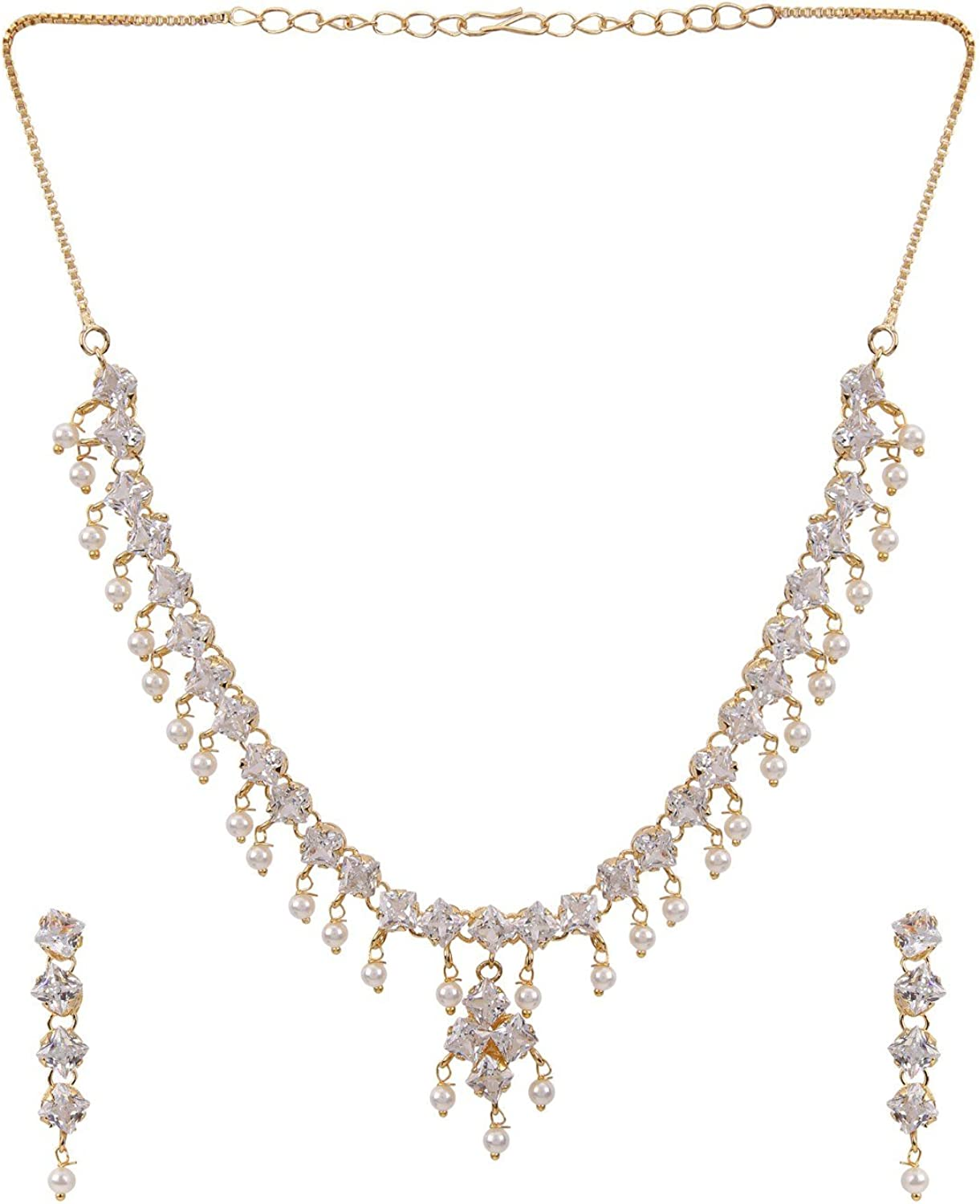 Efulgenz Bridal Crystal Cubic Zirconia Pearl Collar Necklace Earrings Jewelry Set for Women Girls Bride Bridesmaids
