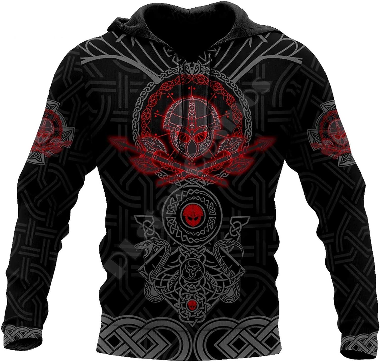 Viking Hoodies,Warriors Tattoo 3D Printed Fashion Men Hooded Sweatshirt Unisex Zip Pullover Casual Jacket Tracksuit