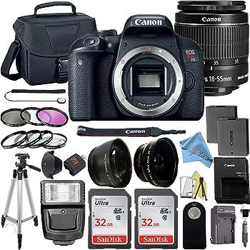 Canon EOS Rebel T7i DSLR Camera Bundle w/Canon EF-S 18-55mm f/3.5-5.6 is STM Lens + 2pc 32GB SanDisk Memory Cards + Lash Light + Tripod + Camera Bag + 3pc Filter Kit + Accessory Kit (18-55mm)