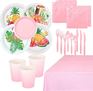 118 Pieces Summer Bird Party Supplies Pack Disposable Tableware Serves 16 Birthday Party Decoration Set Value Pack Napkins...