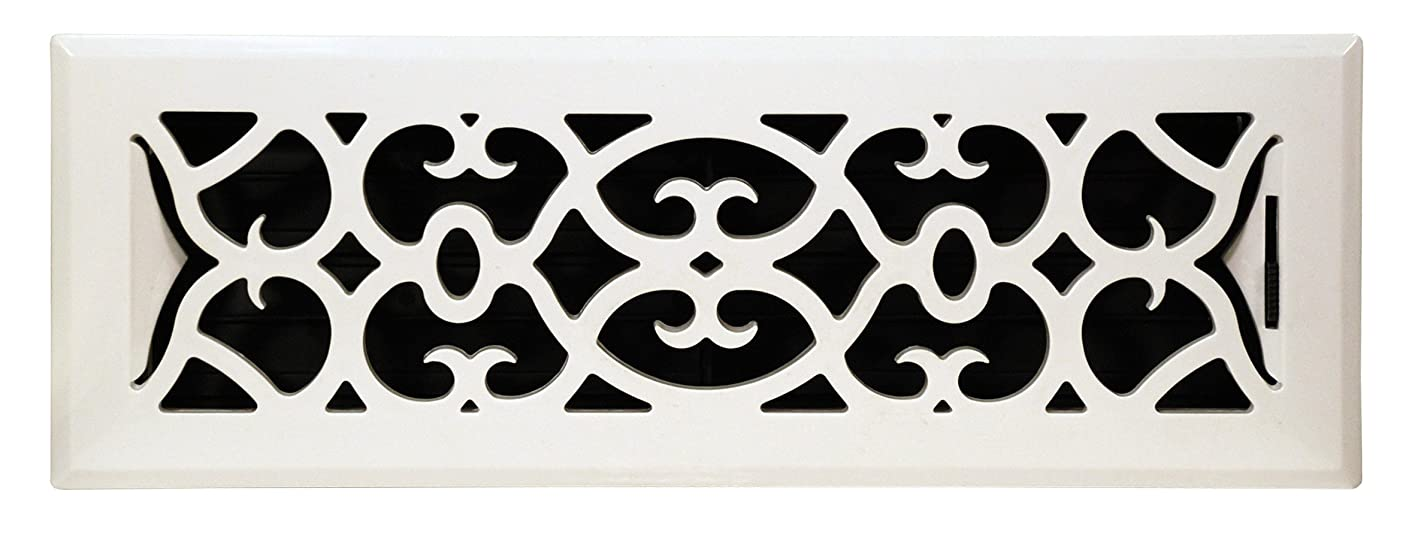 Accord APFRWHV212 Plastic Floor Register with Victorian Design, 2-Inch x 12-Inch(Duct Opening Measurements), White Finish