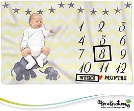 Baby Monthly Milestone Blanket Unisex | Perfect Newborn Blanket | 100% Quality Soft Fleece Baby Blanket | Large Personalized Elephant Background Newborn Photography Props | (Yellow)