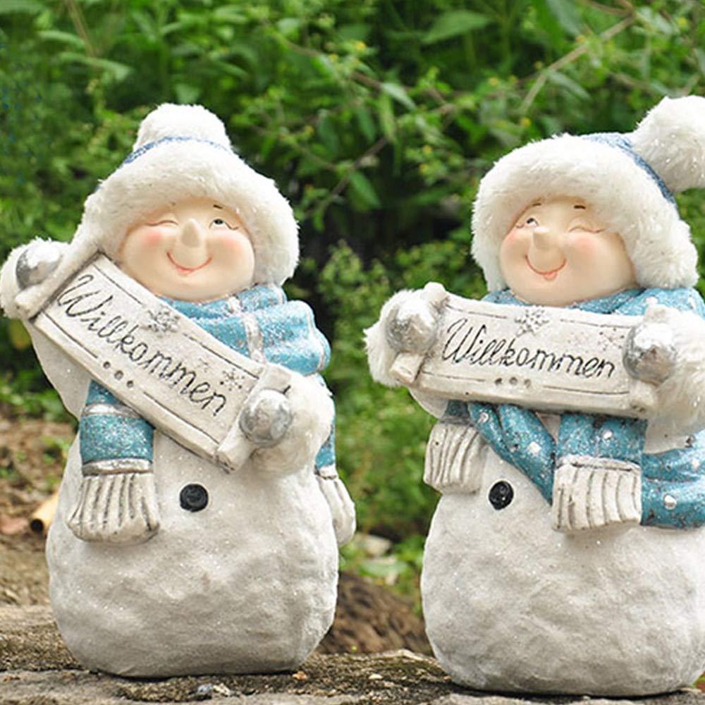 Cvbndfe-GN Estatua del jardín Adornos de Navidad muñeco de Nieve FRP Inicio Jardín Ventana al Patio Grande Decoración con Tarjeta de Bienvenida 1 Par para Patio Interior al Aire Libre: Amazon.es: Hogar