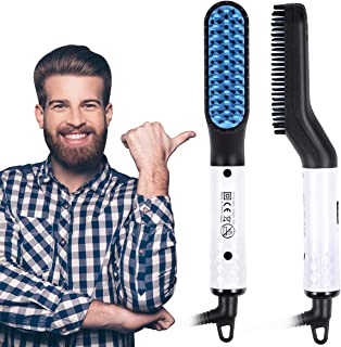 Beard Straightener- USA Designed 2019 Beard Straightening Comb for Men- Electric Ionic Faster Quick Heated Brush Universal Voltage Portable Travel Hair Styling Long Beard