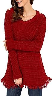 YOUR GALLERY Women's V Neck Asymmetrical Fringe Hemline Waffle Knit Pullover Sweaters