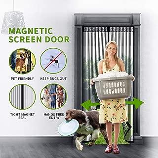 Looch Magnetic Screen Door with Heavy Duty Mesh Curtain and DoorScreenMagneticClosure , Fits Door Up to 34