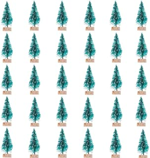 60 Pcs Mini Christmas Trees DIY Xmas Bottle Brush Trees Miniature Sisal Snow Frost Fir Small Artificial Trees Tabletop Trees with Wooden Bases Micro Scenery Landscape Trees for Christmas Party Decor