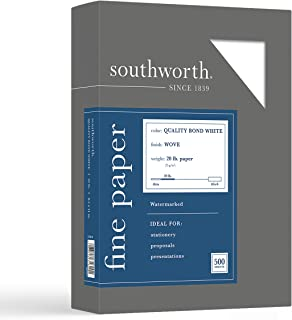 """$23 » Southworth Quality Bond Paper, 8.5"""" x 11"""", 20 lb/75 GSM, Wove Finish, White, 500 Sheets - Packaging May Vary (31-620-10), ..."""