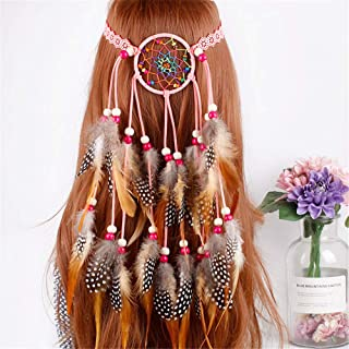 Cinta para el pelo de mujer de Gliczfas, estilo hippie bohemio, joya para el pelo, joya para la cabeza india, con borlas y cuerda, para mujer, festival, carnaval