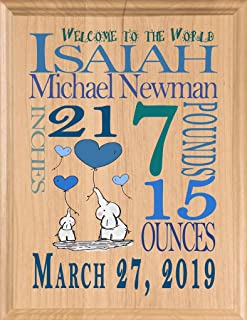 Personalized New Baby Boy Gift Sign Announcement Nursery Décor Art for Newborn Boys New Parents Mom or Dad New Grandson or Nephew