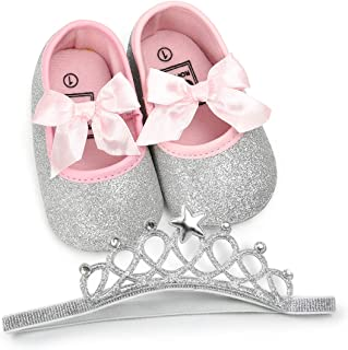 LUWU Baby Girls Shoes Mary Jane Flats Non-Slip Rubber Sole Toddler Princess Shoes