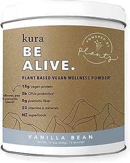 Kura Plant Based Protein Wellness Powder, Vanilla Bean,15g Protein, 23 Vitamins & Minerals, NZ Superfoods, Non-GMO, Gluten Free, Stevia Free, New Zealand Born (14.3 Ounce)
