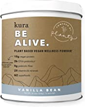 Kura Plant Based Protein Wellness Powder, Vanilla Bean,15g Protein, 23 Vitamins & Minerals, NZ Superfoods, Non-GMO, Gluten Free, Stevia Free, New Zealand Born (14.3 Ounce)
