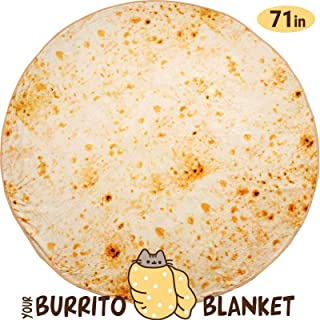 Taco Burrito Tortilla Throw Blanket - 71 Inch Mexican Yellow Novelty Giant Human Burritos - Wrap Food Pizza Fleece Soft Round Blankets for Adults and Kids – Best Gift (Yellow-1)