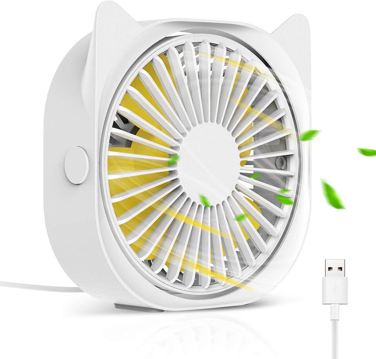 HOISTAC Personal USB Fan For Desk, office, Mini Fan 4 Inch with 3-speed 360° Free Rotating Fan, Desktop Fan Quiet USB Desk Fan for Home, Bedroom, Office, Computer