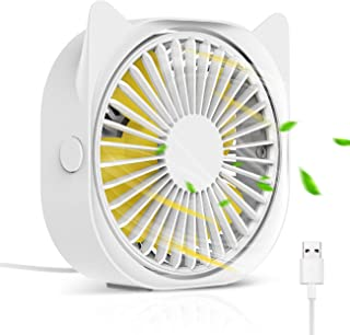 HOISTAC Personal Mini USB Fan For Desk 4-inch 3-speed Adjustable Strong Wind And Super Quiet Portable 360-degree Free Rota...