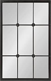 Kate and Laurel McKone French Country 9 Windowpane Metal Wall Mirror, Rustic Pewter 24x38