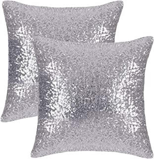 Hello Tomorrow Set of 2 Silver Pillow Covers Sparkling Sequins Pillow Covers Mermaid Sequin Throw Pillow Covers Cushion Co...