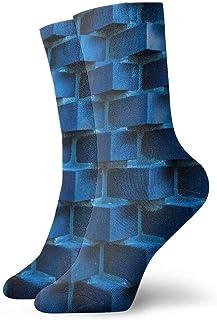 tyui7, Ladrillos de pared Calcetines de compresión antideslizantes azules Calcetines deportivos acogedores de 30 cm para hombres, mujeres, niños