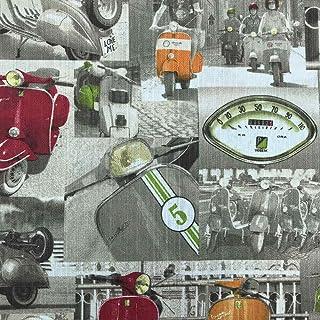 Kt KILOtela Tela de loneta rústica Estampada - Retal de 300 cm Largo x 280 cm Ancho   Motos vespas - Rojo, Verde, Naranja ─ 3 Metros