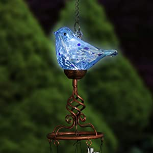 Exhart Solar Turquoise Glass Bird Spiral Finial Wind Chimes - Solar Bird Wind Chime Set w/LED Lights, Garden Bird Wind Chimes, Solar-Powered Bird Decorations, 3.8