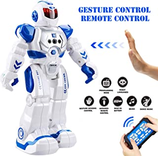 Eholder Smart RC Robot Toy for Kids, Gesture Sensing Dancing Robot for Boys Girls, Smart Remote Control Robot Programmable Robotic Toy Gift Blue