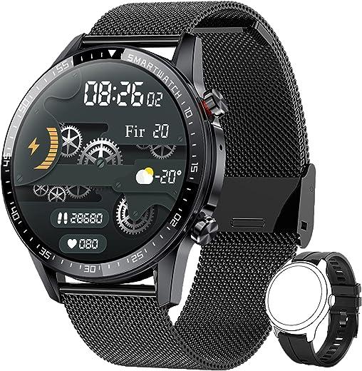 Smartwatch Herren,Phipuds Smart Armbanduhr Männer Fitness Tracker Smart Watch Rund Fitnessuhr Herren mit Pulsuhr Schrittzähler Damen Wearable IP67…
