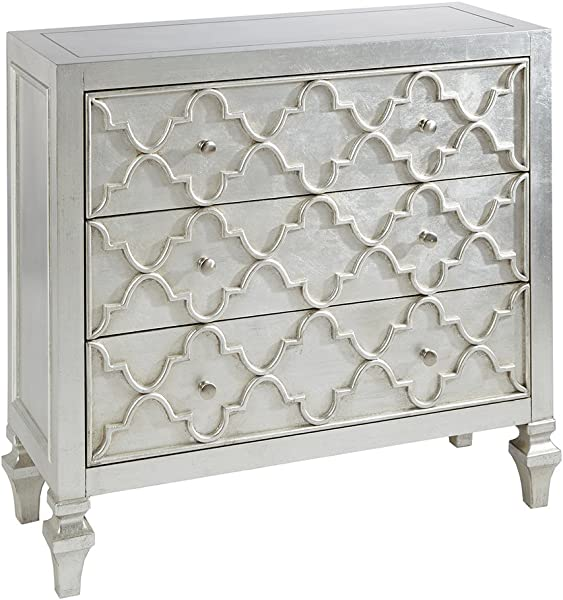 Madison Park MP130 0157 Somerset Wood Metal Living Room Storage Carved Ogee Pattern Modern Style 3 Drawer Dresser Chest For Bedroom Antique Silver