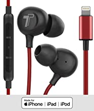 Thore iPhone Earphones (V60) Wired in Ear Lightning Earbuds (Apple MFi Certified) Headphones with Microphone/Remote for iPhone 11/Pro Max/Xr/Xs Max/X/8/7 - Red