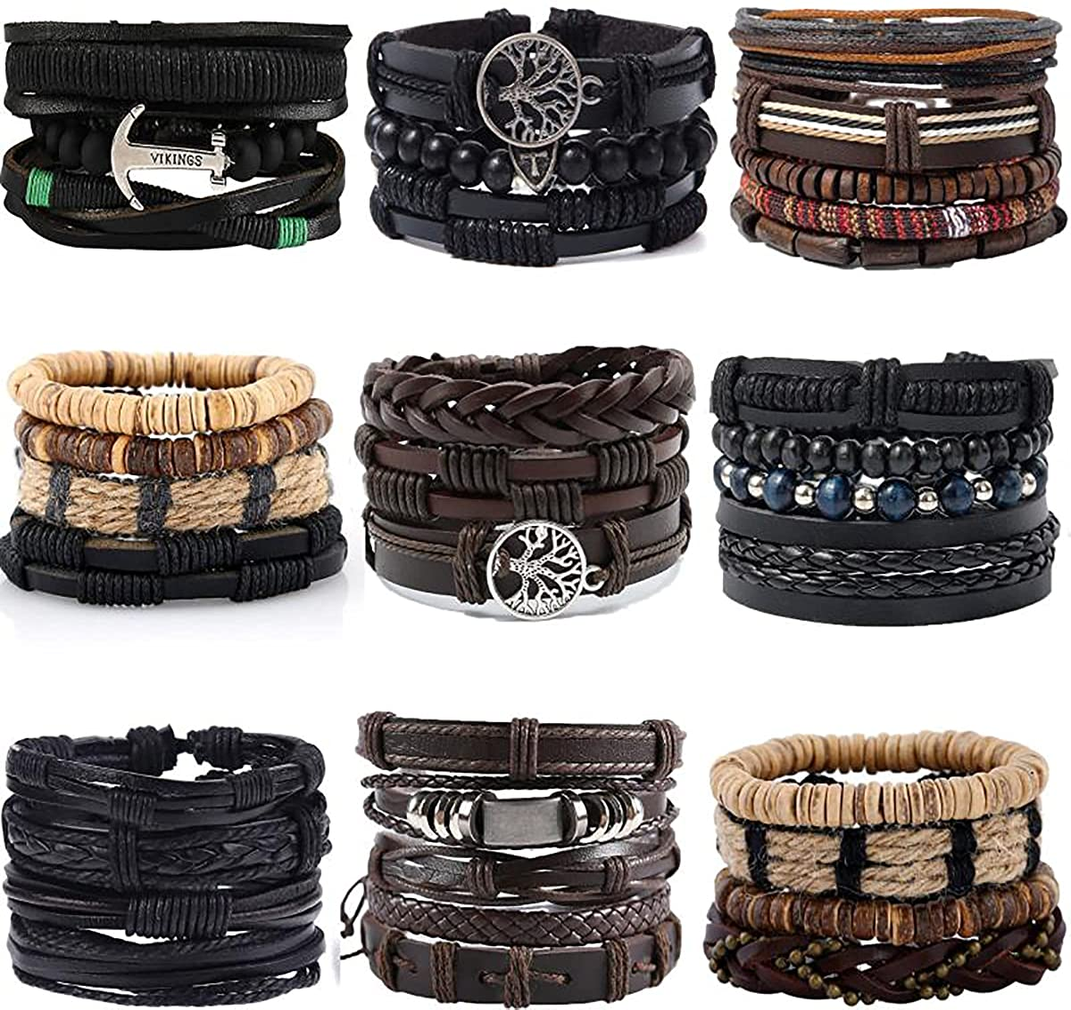 JEWPARK 36PCS Attention brand Woven Leather Bracelet Set Men Brai OFFicial store Cool Women for