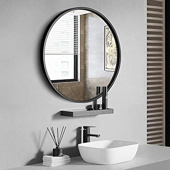 Amazon Com Tinytimes 23 63 Modern Large Round Mirror Accent Mirror Black Round Wall Mirror Brushed Framed Circle Metal Mirror Home Decor For Bathroom Living Rooms Entryways Furniture Decor
